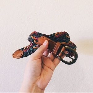 Vintage • colorful leather woven braided belt